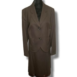 WINDSOR BROWN VIRGIN WOOL JACKET & SKIRT SUIT SZ14